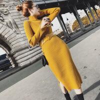 2018春秋薄款毛衣连衣裙女韩版秋季半高领中长款显瘦打底针织裙子 均码