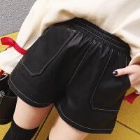 pu皮裤女短裤冬款黑色a字宽松高腰阔腿裤休闲春季外穿靴裤子 黑色 S (建议80-95斤)