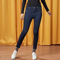 【全场2件2.5折,到手价:49.8】美特斯邦威牛仔裤女新款系小脚少女春秋季时尚简约紧身铅笔裤