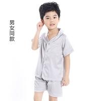 男童睡衣夏季薄款儿童空调服女童短袖夏天小孩宝宝真丝家居服套装