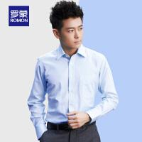 罗蒙青年男士商务休闲长袖衬衫翻领工装衬衫