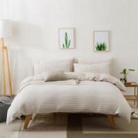 天竺棉针织棉四件套全棉纯棉裸睡床单床笠超柔床上用品水洗厚被套