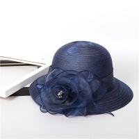 韩版可折欧根纱夏季女士草帽盆帽太阳帽遮阳花朵大沿渔夫帽子 M(56-58cm)
