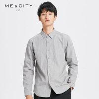【2件2.5折到手价:97.5】MECITY男装2018冬季新款前门襟两侧压线翻领长袖衬衫