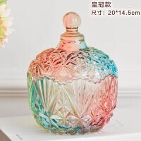 0512115642829欧式储物罐干果罐糖果罐礼物家居装饰创意彩色玻璃器皿 大号皇冠款