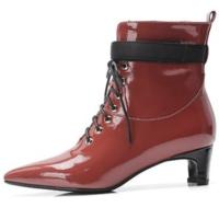 欧美尖头细跟高跟短靴女真皮漆皮马丁靴2018秋冬新款英伦短筒靴子