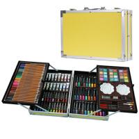 儿童礼物男孩女孩生日学习礼品绘画画笔水彩笔学生文具套装礼盒 亮黄色 送围裙画本礼袋