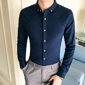 男装秋季修身纯色衬衣小领寸衫修身男士方领休闲长袖衬衫
