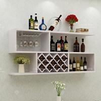 壁挂式酒柜现代简约家用吧台红酒架摆件创意餐厅墙面上装饰置物架 白色【长1.6米11格】 送两个酒杯挂架