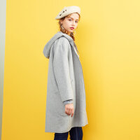 【1件2折到手价:176】美特斯邦威毛呢大衣女士冬装休闲双面呢连帽大衣商场款
