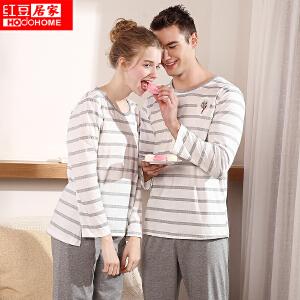 红豆居家情侣睡衣男女春秋季纯棉长袖套头条纹卡通家居服套装 麻灰