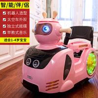 儿童电动车遥控四轮童车可坐小孩摇摆卡通婴幼儿宝宝玩具汽车 顶配白色+遥控+摇摆+播放器