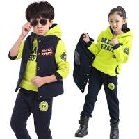 韩版童装冬装儿童男女孩套装2016冬新款运动时尚中大童加厚三件套