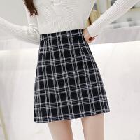 格子半身裙a字裙秋冬新款韩版高腰显瘦包臀短裙