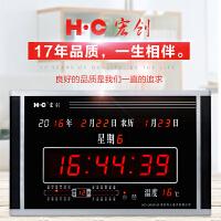 万年历电子钟挂钟客厅家用多功能日历挂钟夜光静音钟表