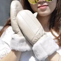真皮手套女冬季保暖挂脖可爱骑行男女士连指手套