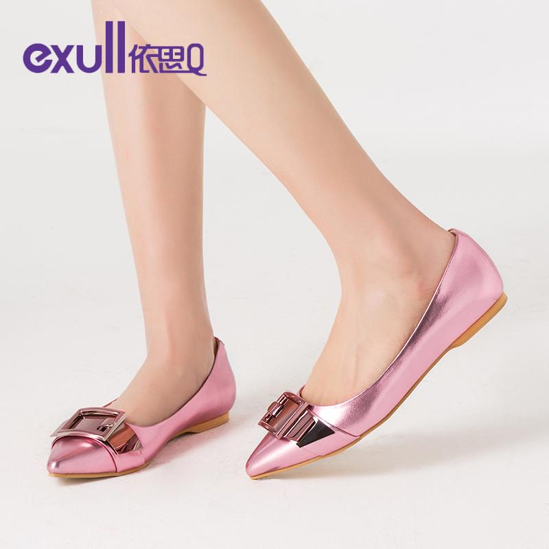 依思q新款春单鞋休闲潮纯色低跟百搭尖头平跟女鞋子