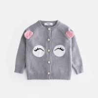 №【2019新款】冬天小朋友穿的女童圆领针织衫开衫儿童女宝毛衣外套可爱休闲秋装0-1岁幼