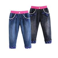 女童加绒加厚牛仔裤宝宝双层长裤儿童春秋装冬装童装