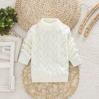 儿童白毛线女童秋冬装毛衣高低领加厚打底黑毛线中大童男童针织衫