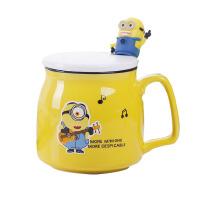 陶瓷杯带盖勺大容量马克杯卡通小黄人水杯牛奶咖啡杯创意可爱杯子