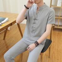 夏季薄款亚麻一套装男韩版衬衫领短袖T恤帅气半袖体恤中国风衣服V 灰色 1805 4X