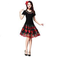 广场舞服装 2018新款中老年舞蹈表演民族跳舞网纱拉丁舞裙 黑色套装 M