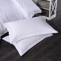 宾馆床上用品棉贡缎纯白色枕套单人枕头套 45CMX75CM