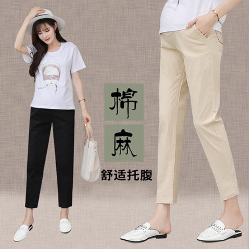 孕妇裤春装夏季薄款外穿棉麻孕妇休闲九分裤2-5 3-9个月