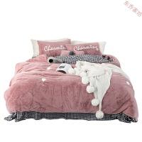 网红兔兔绒四件套 韩版刺绣秋冬天保暖少女床单款水晶绒床上用品