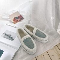 韩国2018冬新款加绒毛毛韩版chic温柔风保暖棉鞋豆豆鞋瓢鞋