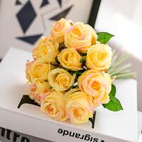 仿真玫瑰花束田园家居客厅婚庆摆件装饰单支仿真花假花绢花
