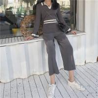 春季新款复古POLO领撞色针织衫+高腰阔腿长裤针织开叉气质套装女