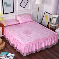 夏季冰丝席床裙式1.5m蕾丝可拆卸凉席三件套折叠款席子1.8m2M米床
