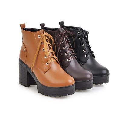 秋冬新款系带英伦风圆头加绒棉靴高跟女靴子马丁靴粗跟短靴女冬靴