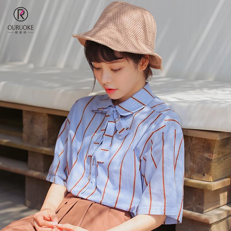 欧若珂  2018夏季新款清新学生领口系带翻领短袖条纹衬衫女
