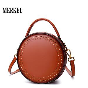 莫尔克MERKEL包包女2018新款斜挎包女牛皮复古铆钉单肩包休闲手提包小圆包
