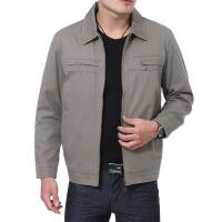 20春装薄款中老年男士夹克外套 全棉爸爸装 翻领中年夹克衫纽扣