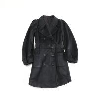 日单女秋冬毛呢外套 中长款双排扣腰带蝴蝶结灯笼袖呢子大衣17X