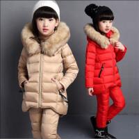童装女童秋冬款棉衣三件套套装2018新款女中大童儿童运动加厚