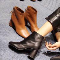 欧洲站女鞋秋冬靴子女短靴粗跟方头高跟马丁靴女及裸靴