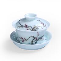 景德镇青花盖碗茶杯 陶瓷功夫茶具泡茶碗茶壶白青瓷三才盖碗套装