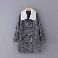 428 冬季新款翻领双排扣长袖女式毛呢大衣百搭外套