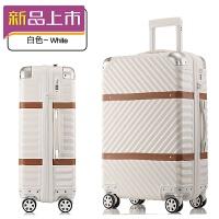 2018新款复古旅行箱铝框拉杆箱20登机箱24寸行李箱万向轮女男26皮箱子 皮带拉链款-白色 20寸