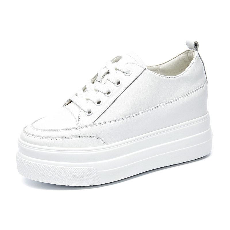 内增高小白鞋女秋季2018新款潮百搭韩版厚底松糕板鞋网红单鞋