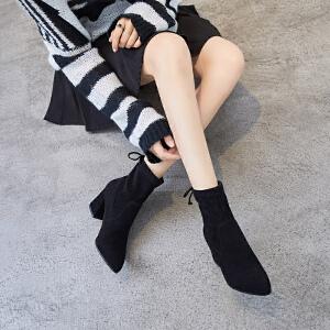 ZHR尖头小短靴子女潮秋冬季2018新款INS网红单靴韩版百搭粗跟踝靴