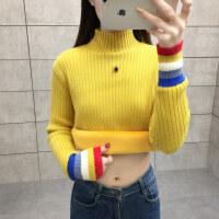 韩版加绒毛衣女秋冬装加厚保暖衣服宽松半高领针织打底衫 X