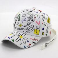 韩版男女情侣男女涂鸦长带子棒球帽 男女夏时尚嘻哈弯檐鸭舌帽子 涂鸦超长带子白色JX262 可调节