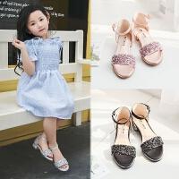 女童凉鞋夏季小女孩公主鞋高跟中大童沙滩鞋儿童鞋子