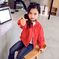 童装女童外套6秋季7韩版8中大童9时尚条子夹克衫女孩子棒球服
